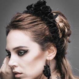 fiori gotici Sconti Fascia per capelli Gothic Steampunk nera rosa Fascia per capelli LOLITA in pizzo nero per capelli Cappello Hollween Party Custome Party