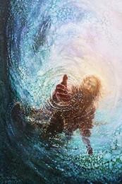 2019 pinturas da selva Yongsung Kim MÃO DE DEUS Pintado À Mão Clássico Retrato da arte da parede pintura a óleo Jesus Estende a Mão Em Água Na lona de Alta Qualidade
