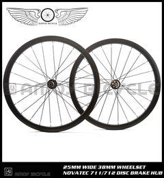 ruedas de ciclocross Rebajas Envío gratis 700C 38mm Clincher Carbon Wheelset Disco de freno 24/24 H Ruedas Road Cyclocross Bike Bicycle Disco freno Hubs Ruedas