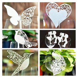 Wholesale Place Cards Birds - Wholesale- 50x Paper Laser Cut Butterfly Bird Heart Table Name Place Escort Cup Card Wine Glass Cards Wedding Party Table Bar Decorations