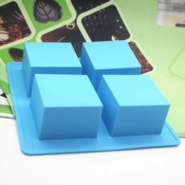 Wholesale Silica Gel Cake Mould - Wholesale- Wholesale retail,free shipping ,4 hole Square Silica gel cake mold square mould handmade soap mould soap:hole:5.9 * 4CM