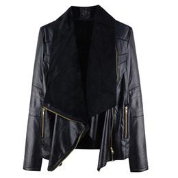 Wholesale large lapel leather - 2017 Autumn New Black Girls Motocycle Women Jacket coat Large Lapel PU Zipper girls Faux Leather female Coat Outwear
