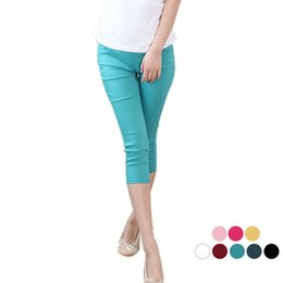 Wholesale Trousers For Pregnant - Candy color cropped trousers for pregnant women summer maternity wear