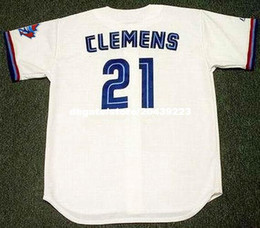 Wholesale Majestic Throwback Jerseys - High end cheap Custom ROGER CLEMENS Toronto Vintage embroidery 1997 Majestic Throwback Home Baseball Jersey Retro Mens Jerseys