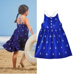 Wholesale Beach Clothes For Kids - 2017 Summer Baby Girls Dresses Anchor Print Blue Sundress for Girls Beach Holiday Children Dress Kids Clothes Vestido