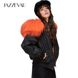 36a4ec6af9f JAZZEVAR новая зима высокая мода улица женщина с капюшоном бомбардировщик  куртка Монголия овец меховой воротник короткие основные куртка стеганые  пиджаки
