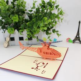 Tarjeta de patrones 3d online-Nuevo Patrón 3D Helicóptero Tarjetas de Felicitación Originalidad Talla De Papel Niños DIY Ahueca Hacia Fuera Feliz Cumpleaños Parte Suministros 3 9me Ww