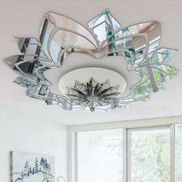 2019 adesivos abençoados 3d ornamentado Flor decorativa Wall Mirror Acrílico Adesivos de teto Adesivos Sala Quarto Decor Sala Decoração decalques R042