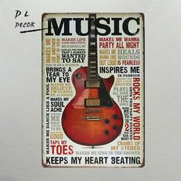Wholesale Rock Music Decor - DL-Music rocks my world shabby chic ART painting Garage Tin Sign, Bar, Home Decor, Man Cave