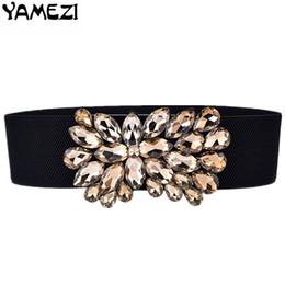 1a4118df9 2019 cintas femininas YAMEZI Moda imitação de cristal de largura elástico  das mulheres cinto vestido adorno