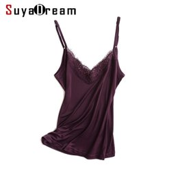 silk camisoles Canada - Women silk camis 30% Natural silk and lace camisoles  Bottoming shirt 510679875