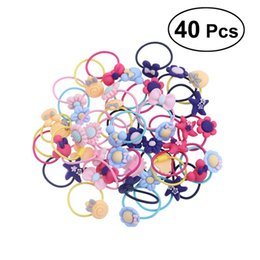 Wholesale cartoon hair ties - 40 Pcs Pack Lovely Cartoon Hair Band Tie Ropes Bands Ponytail Holders for Kids Baby Girls