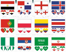 Wholesale National Pvc - 2018 Russia World Cup National Flag Tattoo Stickers Waterproof Sweat Environmental Protection Facial Body Paster Safe 0 25rc X