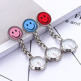 Wholesale Clock Nurse - 2018 new hot style nurse doctors women girls cute smile face pocket watches hospital red cross portable brooch supe clock