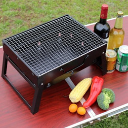 Wholesale Bbq Grill Stove - Outdoor Folding Patio Barbecue Grill Portable Camping picnic Garden Stainless Steel charcoal furnace BBQ grills Burn oven stove