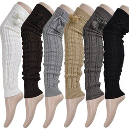 ball legs Coupons - Knit Braid Ball Over Knee Long Socks Stocking Boot Loose Leg Warmers for Women Drop Ship 010081