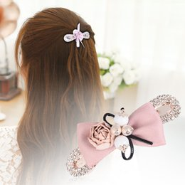 Wholesale Hair Bows Wholesale China - Easya Cute Cloth Art Flowers Bow Crystal Hairpin Clip Hair Barrette Fashion Hair Clips Jewelry Clips 23 Designs mix order