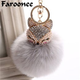 resin women rings Promo Codes - Charms Crystal Faux Fox Fur Keychain Women Trinkets Suspension On Bags Car Key Chain Key ring Toy Gifts Llaveros Jewelry 7C0394