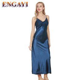 ENGAYI Marca Mujer Vestido de Noche de Verano Camisón de Seda Satén Camisón Vestido de noche Más Tamaño Ropa de Dormir de Encaje Lencería Sexy CQ311 S923 desde fabricantes