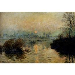 Pitture a olio sette sole online-Dipinti ad olio di Claude Monet Sole sopra la Senna a Lavacourt Effetto invernale su tela Riproduzione di alta qualità dipinta a mano