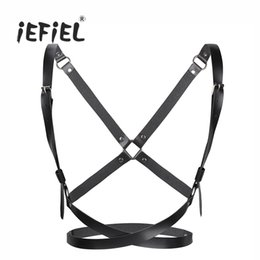 Wholesale Leather Body Harnesses For Women - iEFiEL Fashion Women PU Leather cosplay Adjustable Body Chest Harness Bondage Belt with Buckles and O-rings for X-shaped Back