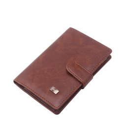 Wholesale Travel Documents Case - Vintage PU Leather Passport Cover Travel Credit Card Holder Brown Hasp Solid Color men's clip Document Case (custom available)