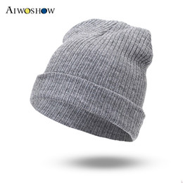 Wholesale Headgear For Winter - 2017 Fashion Hip Hop Beanie Winter Knit Hat Autumn Hedging Hat For Women Men Skullies Warm Headgear Beanies Cap Simple Soft Cap