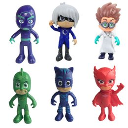 Wholesale good pajamas - 6Pcs set Baby Cartoon Play Toys pj masks With Box Masked Man Pajamas Children's pj mask Heros Characters Action Figure Toys