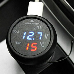 car thermometer led 2018 - 3 in 1 Digital LED Car Voltmeter Thermometer Auto Car USB Charger 12V 24V Temperature Meter Voltmeter Portable XNC