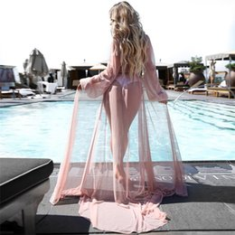 d1f3436bf9a1f Z&F Summer Women Swimsuit Cover Ups Sleeves Pink Wholesale for Bikini Beach  cover-up Long Dress See-through Sexy DHL FREE SHIP. Supplier: gracequeen