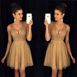 Wholesale Stone Cocktail Dresses - 2018 New Gorgeous Gold Homecoming Dresses V Neck Lace A Line Sleeveless Beaded Stones Knee Length Short Prom Party Cocktail Dresses