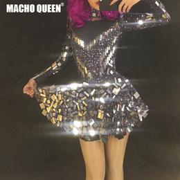 Vestidos de festa espelhos on-line-Espelho preto Strass Bodysuit Vestido de Dança Latina Traje Sparkly Mulheres Outfit Drag Queen Costumes Jumpsuit Desgaste da Festa de Aniversário