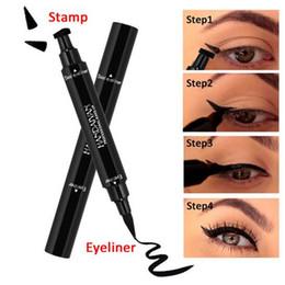 Wholesale Pencil Eyeliner Styles - New brand Double Ended Black Eyeliner Liquid Pencil & Eyeliner Stamp Long Lasting Cat Eye New Wing Style Eyes Makeup Eye Liner Stamps