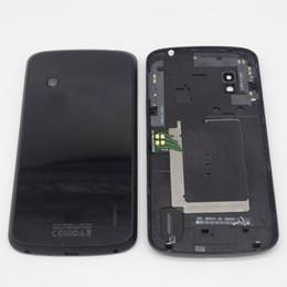 Porte nfc en Ligne-Cache batterie d'origine pour Google Nexus 4 E960 Couvercle de la porte de la batterie arrière + pièces de réparation NFC Noir