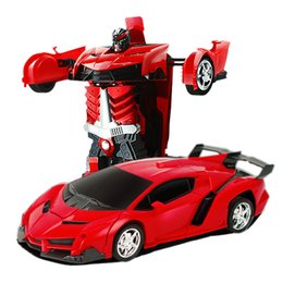 Wholesale Electric Brushed Motor Rc Car - Transformation Robots RC Car Sports Car Models Remote Control Deformation RC Robots Kids Toys Children's Birthday Gifts