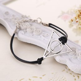 Wholesale dream bracelets - Hot Fashion Infinity Black Bracelet Bangles Deathly Hallows Wing Dream Infinity Bracelet Inspired Charms Movie New Year Gifts 160574