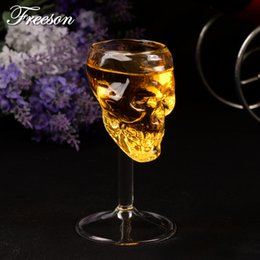 Wholesale Skulls Head Vodka - 2pcs lot Gothic Skull Wine Glass Goblet Mug 75ml Head Glass Party Bar Drinking Vessel Vodka Whiskey Verre Champagne Cup