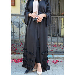 dresses singapore Promo Codes - Elegant Adult Muslim Abaya Arab Turkish Singapore Aardigan Appliques Jilbab Dubai Clothing Women Islamic Dress Robe Large Size