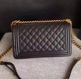 Wholesale classic flap bag - Classic Le Boy Flap bag women's Plaid Chain bag Ladies luxury High Quality Handbag Fashion designer purse Shoulder Messenger bags 25.5cm