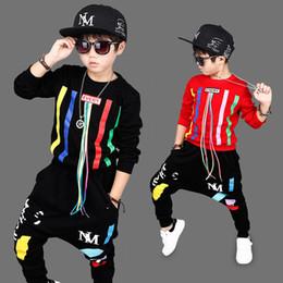 2019 costume de hip hop pour enfants Vêtements pour enfants Garçons Ensembles de sport Hip Hop Sweat Pantalon 2 pcs Costume Vêtements de Noël Automne Enfant Manches Longues Accueil Vêtements costume de hip hop pour enfants pas cher