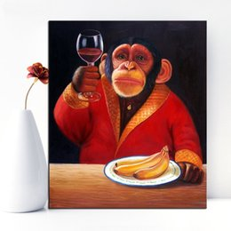 Wholesale Monkey Oil Painting Canvas - animals art Giclee poster monkey drinking print Wall oil Painting picture print on canvas no frame wall paint