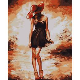 2019 donne sexy della vernice dell'olio No Frame Figure Painting Sexy Women Diy Painting By Numbers Kit Dipinto ad olio dipinto a mano Unico regalo per Home Decor opere d'arte donne sexy della vernice dell'olio economici
