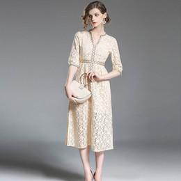 6e5cff059 Vestidos de encaje de la vendimia del verano ropa de estilo europeo para  mujer V profundo baile vestidos vestidos de noche de la manga del codo
