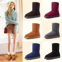 Wholesale Thick Tube Top - Women winter snow boots Top Quality fashion Brand Ladies Women Genuine leather Couples warm Lightweight thick cowhide Medium tube boots