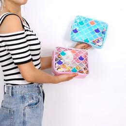 Corea bolsas mujer online-Sirena belleza mujeres estuche cosmético de gran capacidad bolso de maquillaje de la muchacha bolsa de viajes bolsas de aseo de playa bolsa de almacenamiento de lavado Corea bolsa de gelatina