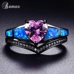 Conjuntos de boda de ópalo online-Bamos Retro Blue Opal Ring Set Corazón Rosa Anillos Cubic Zirconia Oro Negro Lleno Wave Ring For Women Promise Wedding Jewelry