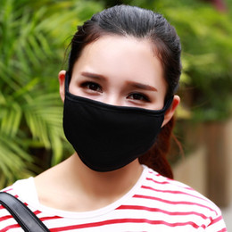 Wholesale Double Hung - Black Dust Masks Cotoon Double Layers Anti Haze Respirator Hanging Ears Type Riding Keep Warm Mask For Men And Women 0 66nz B