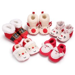 Wholesale Christmas Baby Boots Shoes - First Walkers Christmas Infant Baby Kids Boy Girl Winter Warm Snow Boot Xmas Soft Slipper Crib Shoes