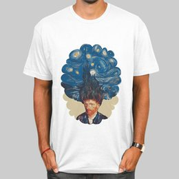 Wholesale Van Gogh Starry Night Oil - The starry night t shirt Van Gogh short sleeve gown Oil paintings tees Unisex clothing Quality modal Tshirt