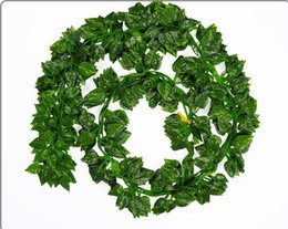 Wholesale Outdoor Wall Decor Wholesale - Wholesale-12PCS Like real Artificial Silk Grape Leaf Garland Faux Vine Ivy Indoor  Outdoor Home Decor Wedding Flower Green Christmas Gift